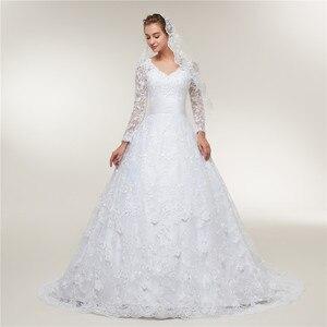 Image 2 - Fansmile Vestido De novia De encaje De manga larga, vestidos De novia hechos a medida, De talla grande, FSM 403T, 2020