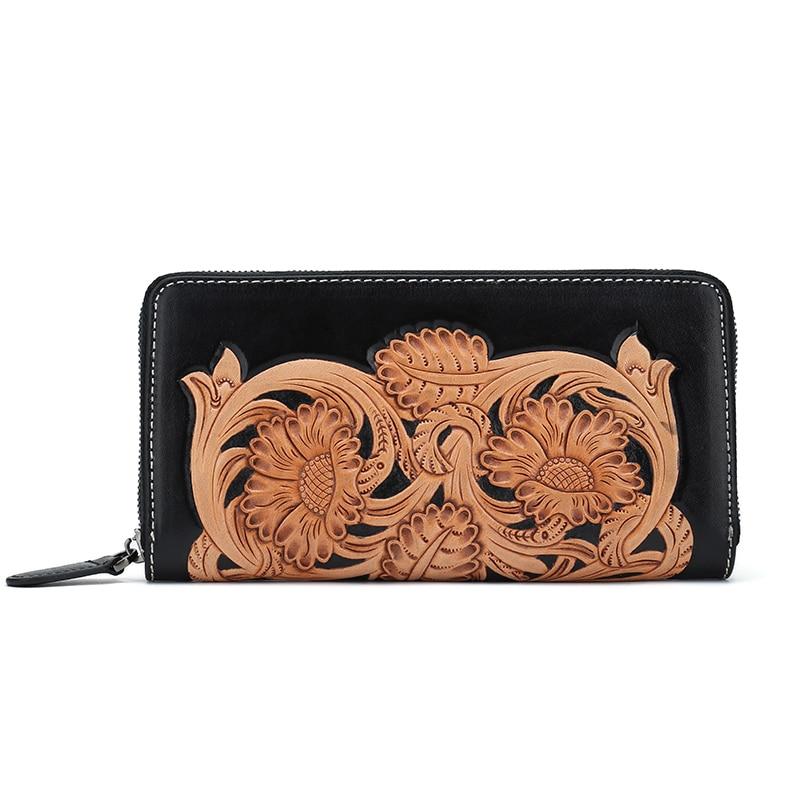 100% hand carved chinese vintage flower genuine leather wallet women wallets simline vintage 100