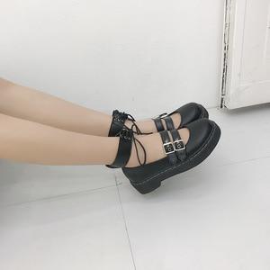 Image 2 - יפני חדש רך ילדה שני ללבוש קטן עור נעליים, עבה תחתון עגול ראש לוליטה תלמיד יפה בובת נעליים, נשים נעליים