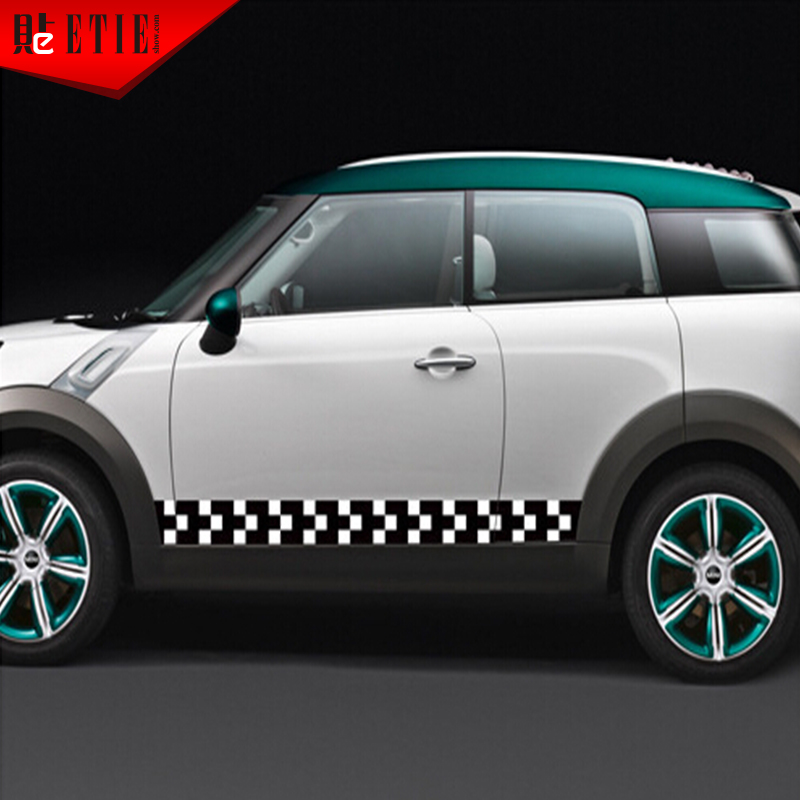 Etie car skirt decals rushed glue sticker words car styling cool and plaid flag logo mini cooper sticker car body accessories in car stickers from
