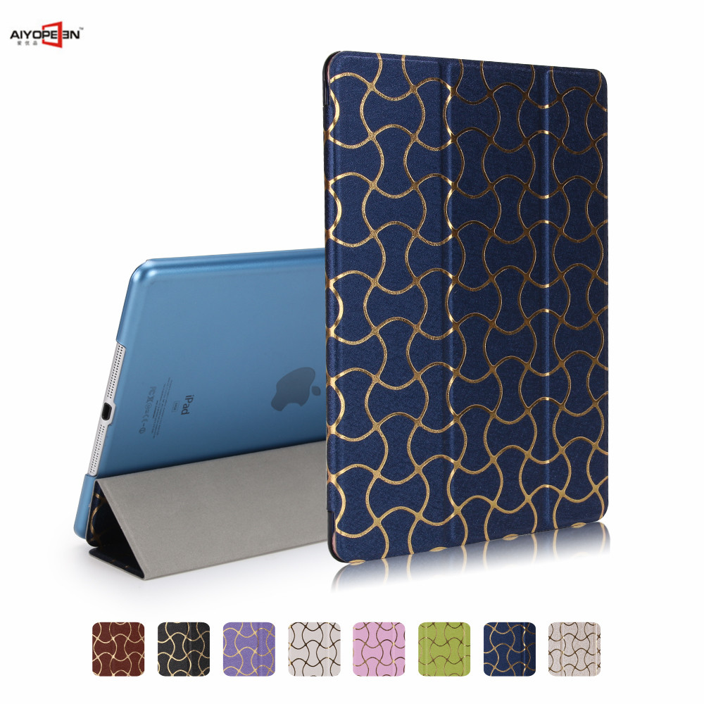 for ipad air 1 case smart wake up sleep 3-fold pu leather + translucent pc back cover can see logo new pattern for ipad 5 for apple ipad air 2 pu leather case luxury silk pattern stand smart cover