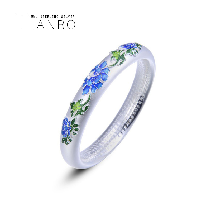TIANRO 990 full silver cloisonne bracelet ethnic style enamel silver bracelet ladies closed burning blue sterling silver jewelry in Bangles from Jewelry Accessories