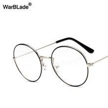 dba5c7d5fd WarBLade Vintage Or Métal Cadre Lunettes Lunette Hommes Femmes lunettes de  Soleil Ronde Lentille Optique Lunettes Nerd Objectif .