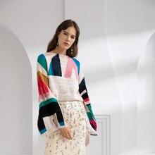 купить Colors Geometric Print Flare Sleeve Women Sweater Knitted Soft Pullover Jumper Autumn Casual Female Sweater Top High Quality по цене 6973.48 рублей