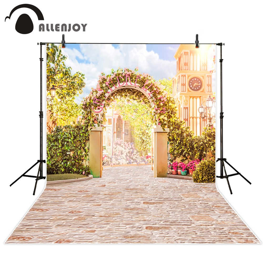Allenjoy Custom size Backdrops Wedding Studio Decor Backgrounds romantic garden gate Computer Painted Vinyl Photography Backdrop 200 300cm 6 5 10ft studio backdrop for alentine s day vinyl custom photography letter combinations romantic colorful for youth