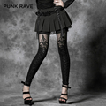 Punk Rave Flocking Bind Lace Leggings Fashion Women Sexy Good Elestic Pantalon Femme K-144