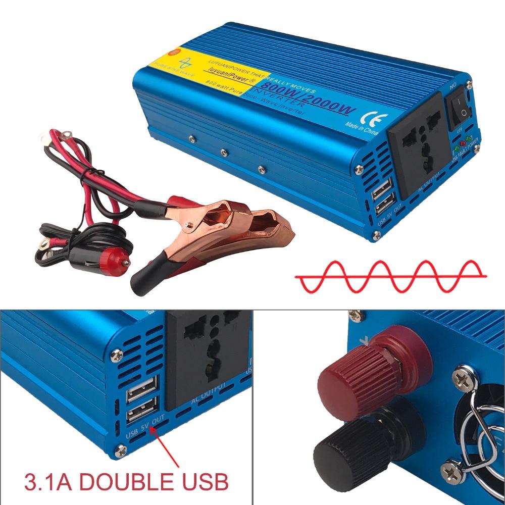 цена на 800W 2000W Peak Full Power CAR DC 12V to 220V AC 230V 240V Converter Power Supply Pure Sine Wave Solar Power Inverter