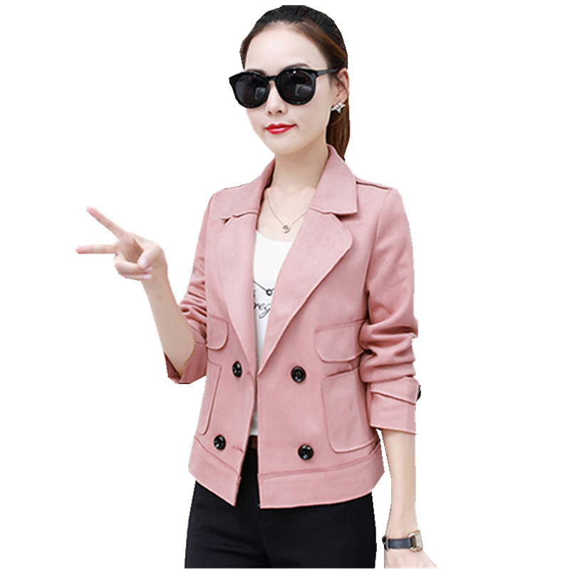 Short jacket womens 2018 spring and autumn new deerskin cashmere Korean wild lapel student windbreaker jacket TB18103