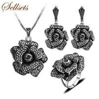 Sellsets Antyczne Srebro Kolor Moda Czarny Kryształ Wielki Kwiat Komunikat Naszyjnik Zestaw Biżuterii Vintage Jewelry Sets Dla Kobiet