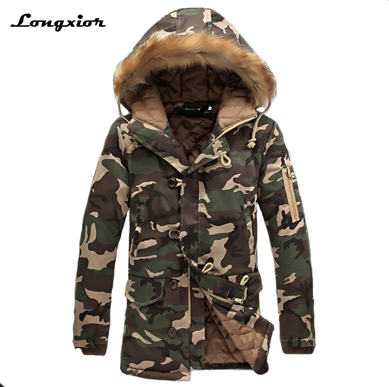 L16 Fashion Camouflage Parkas Men Military Medium Long