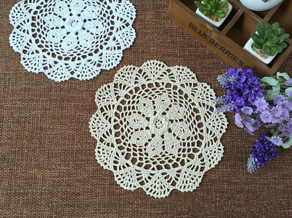 6 Pcs 85 Inches Doilies Round Nice Crochet Pattern Wedding