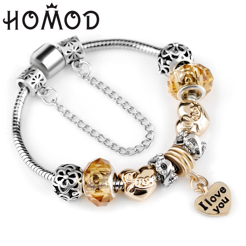 HOMOD Safety Chain Silver Color Charms Bracelet with yellow Crystal Beads & Love Pendant DIY Pandora Bracelet for Women Jewelry