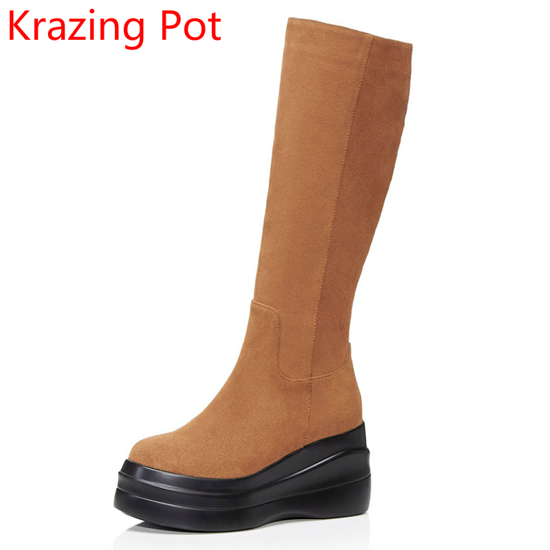 2018 New Arrival Cow Suede Winter Shoes High Heels Wedges Round Toe Zipper Platform Knee High Boots Casual Thigh High Boots L91 fringe wedges thick heels bow knot casual shoes new arrival round toe fashion high heels boots 20170119