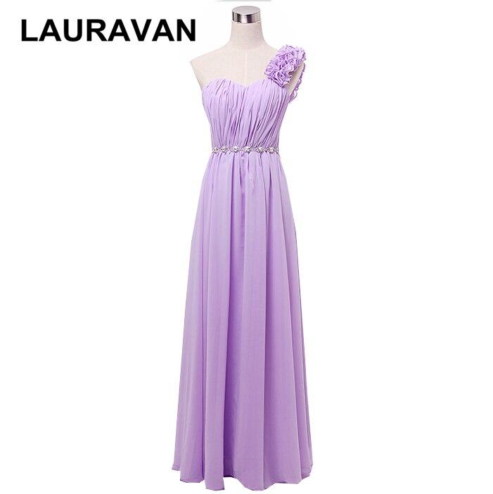Perle en mousseline de soie femmes lavande violet une épaule robe de demoiselle d'honneur balayage robes de mariée longue 2019 pour les occasions spéciales