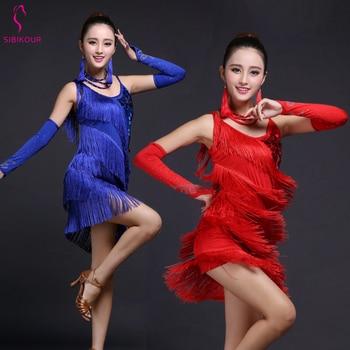 f5862236b Vestido de baile latino con flecos de competición, vestido de salsa,  vestido de salón Rumba Jive ...