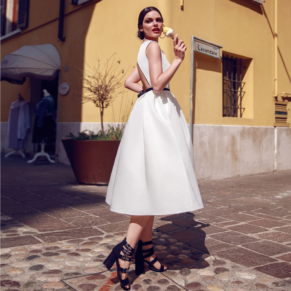 vestidos de novia Boat Neck Short Wedding Dresses Sexy Back A-line Satin Vintage Tea-length Wedding Gowns robe de mariee