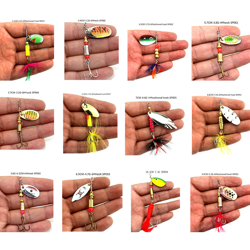 HENGJIA hard metal spinnerbaits blade sequins fishing lures spinner spoons baits pesca fishing tackles with treble hooks