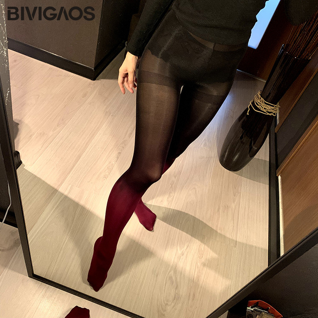 BIVIGAOS 120D Velvet Gradient Opaque Seamless Pantyhose Candy Color Tights 2