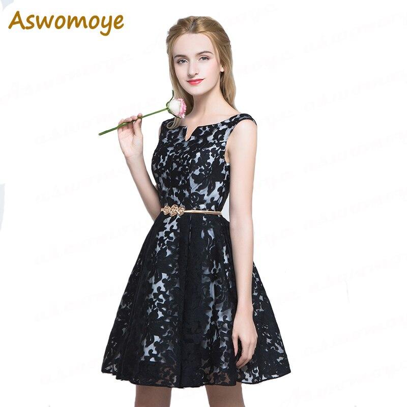Women Elegant Evening Dress 2017 A-Line Short Black Evening Gowns Backless Party Formal Dresses Haute Couture Robe De Soiree