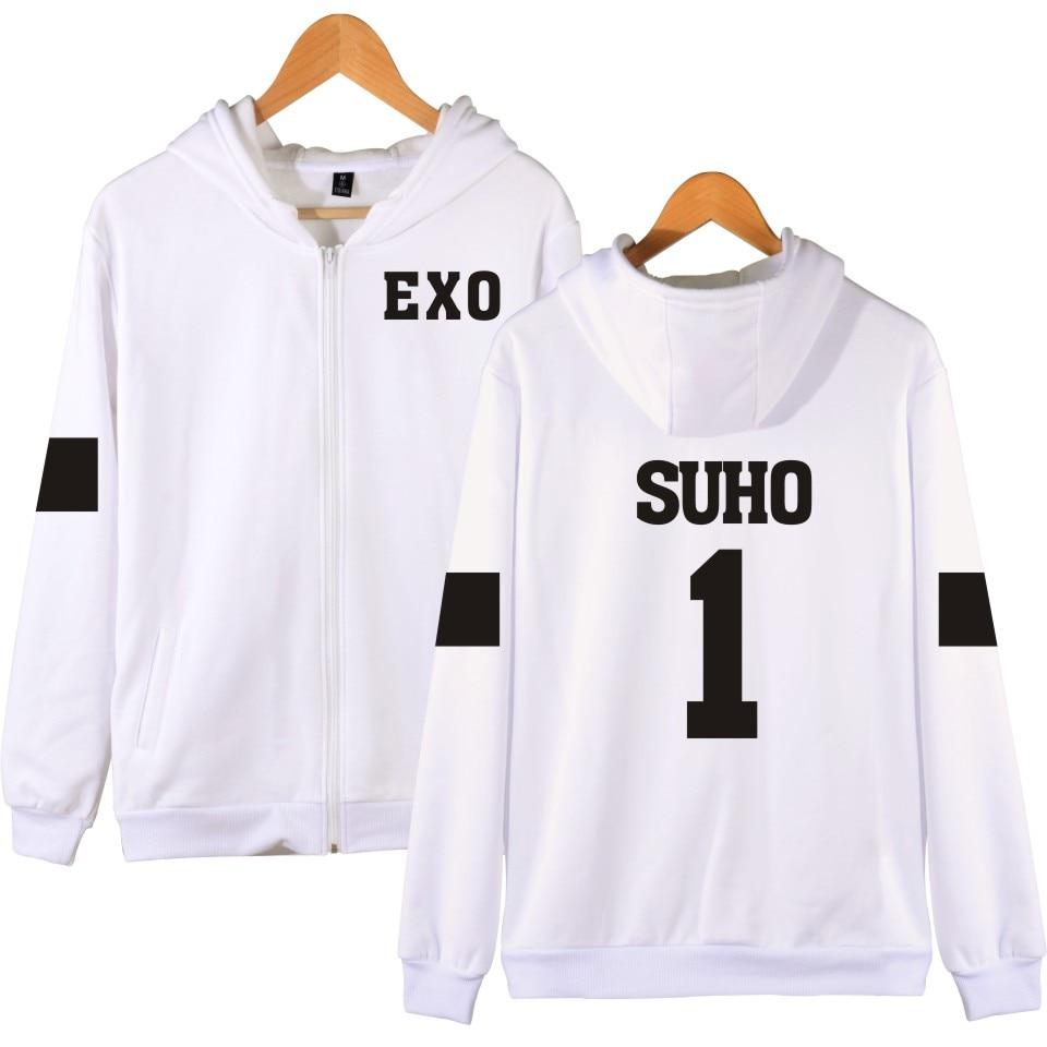 Harajuku EXO Sweatshirt Women Hoodies Women Brand Designer White Sweatshirt Grey And Navy Blue Kpop Style Good Quality EXO Print