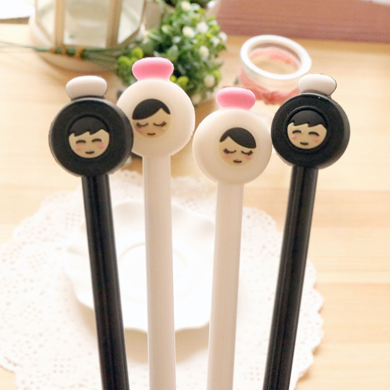 2 pcs/lot Cute boy girl gel pen writing pens stationery caneta material escolar office school supplies papelaria kids gifts