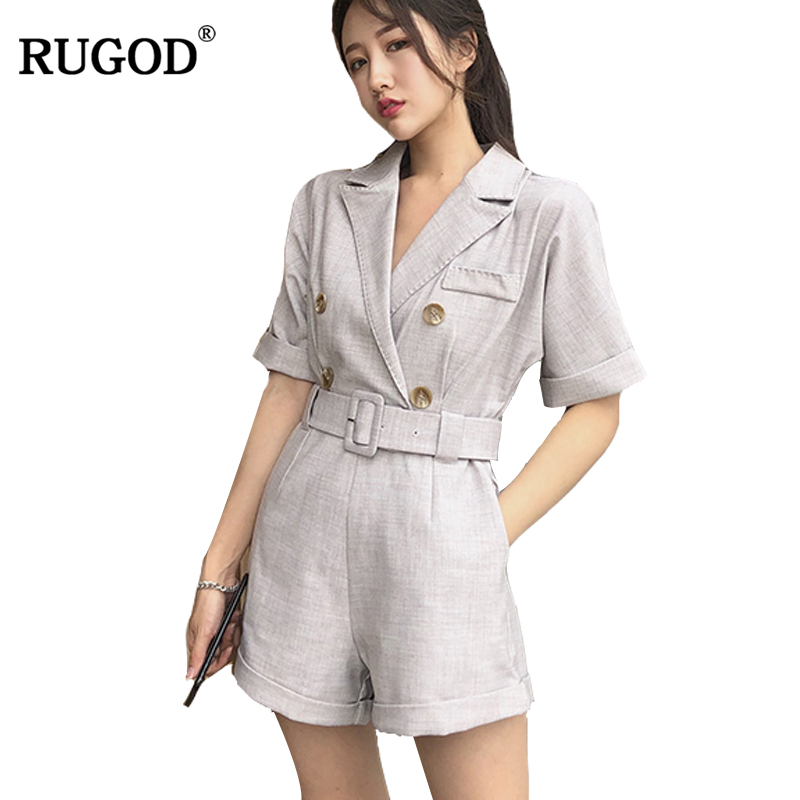 RUGOD 2019 New Arrival Formal Women Playsuit Summer Autumn Business Female Playsuit With Sahes Regular Solid Pocket Playsuit