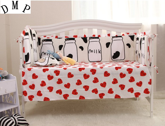6PCS 100% Cotton baby crib bedding sets Children bed around ,include:(4bumpers+sheet+pillowcase)
