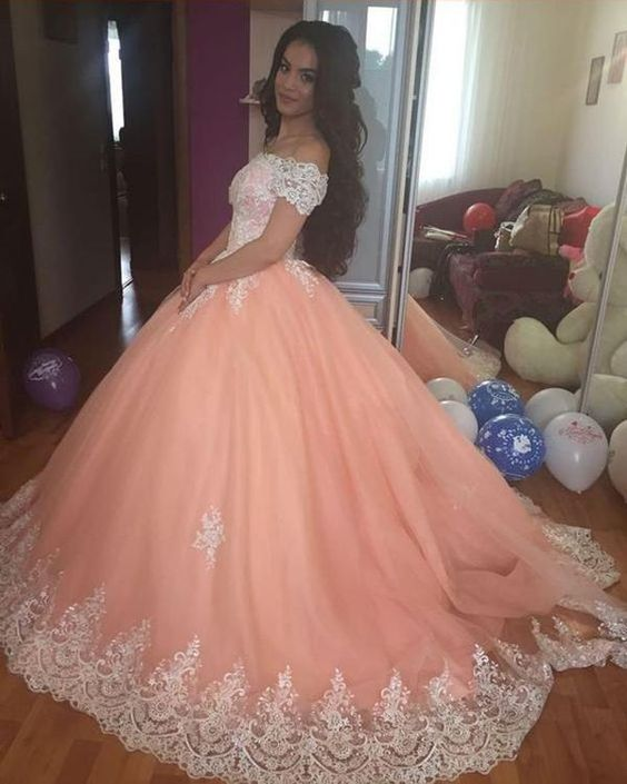 Delicate Peach Quinceanera Dresses Off The Shoulder Tulle Puffy Plus Size Prom Party Gowns Lace Up 2015 Spring Sweet 16 Dress