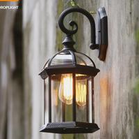 Vintage Waterproof Outdoor Wall Lamp Rust Cottage Antique Balcony Porch Garden Light Outdoor Lighting E27