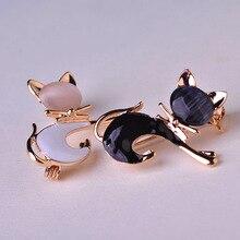 Black Tie Cat Brooch For Women