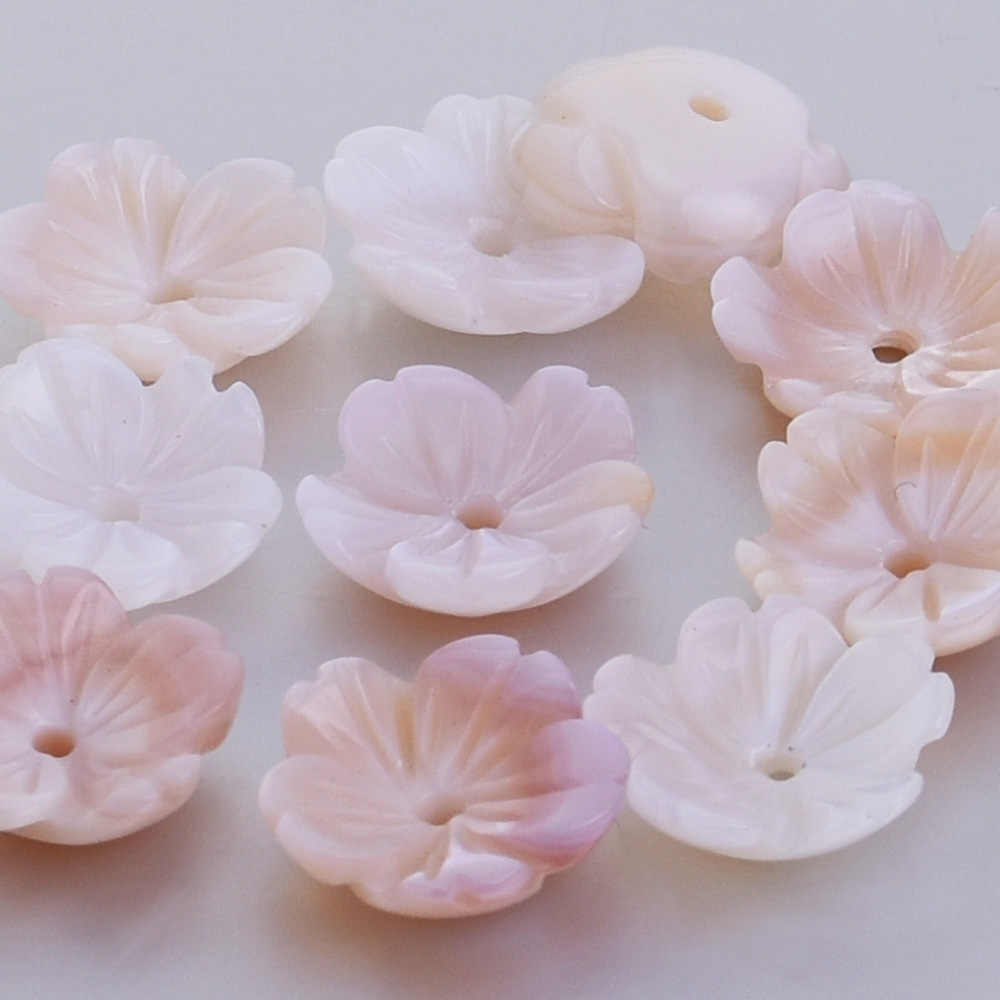 Pink Mother of pearl carved flower shell bead Pearl Flower central hole 1mm diy fashion Jewelry,sold 6pcs/lot