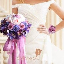 2017 Nuevo ramo nupcial de rosa de estilo clásico de la novia de la boda Artificial de la mano para la decoración de la boda del partido