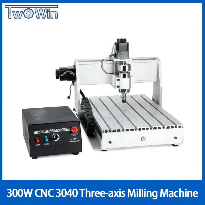 300W Three axis Threads Screw CNC Router Engraver Engraving Milling Drilling Cutting Machine CNC 3040 T