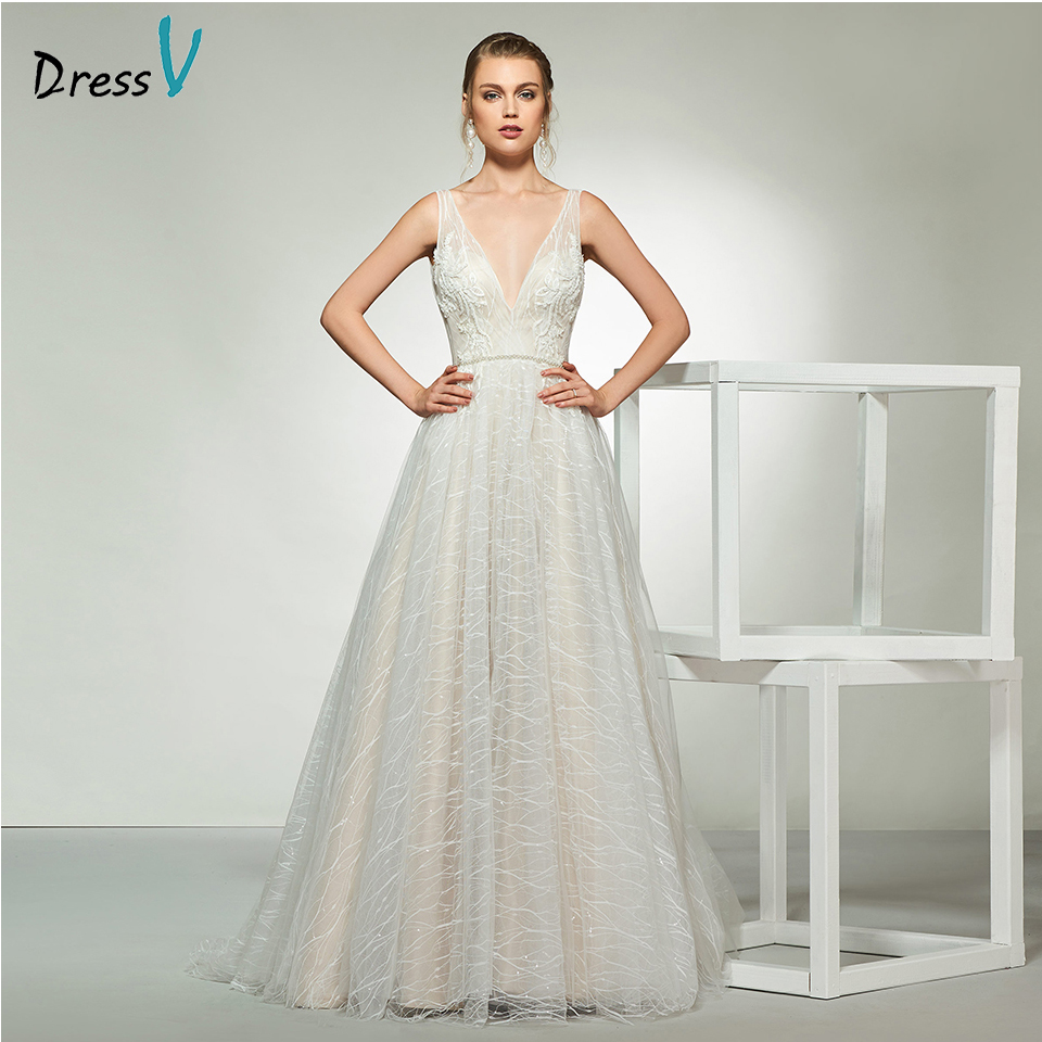 Dressv elegant sample v neck tulle wedding dress sleeveless lace a line floor length simple bridal gowns wedding dress