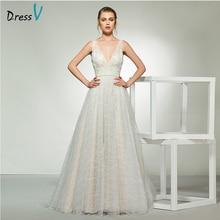 Dressv elegant sample v neck tulle wedding dress sleeveless lace a line floor length simple bridal gowns