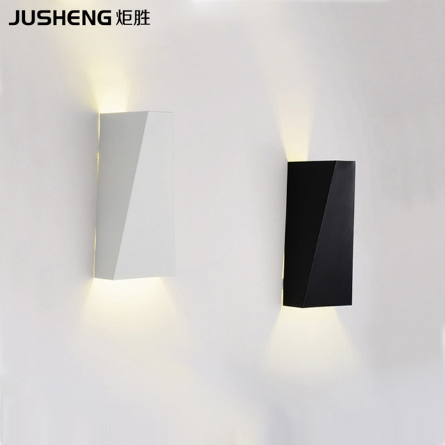Indoor Brief Style Led Wall Lamps Modern Square Bedroom Up And Down Lights Black