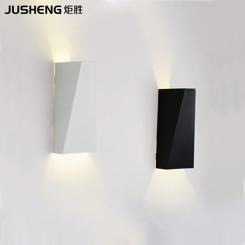 Indoor Brief Style LED Wall Lamps Modern Square Bedroom Up and Down Wall Lights Black / White Color 100 240V AC