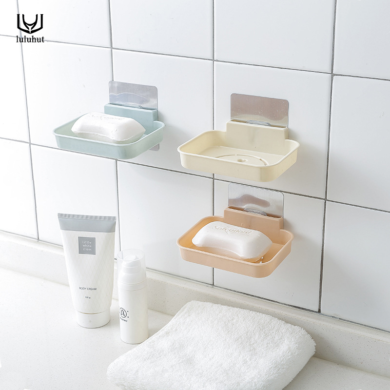 luluhut bathroom soap holder magic seamless paste wall suction drain kitchen sponge rack soap storage box home organization