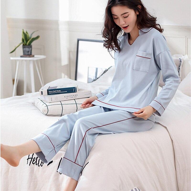 Cotton V-Neck Long Sleeve Women's Pajama Sets Elastic Waist Contrast Color Female Home Clothes 2018 Autumn Fashion Nightie