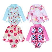 Новое летнее платье для малышей, для маленьких девочек Купальник милый комбинезон с длинными рукавами, цельное платье с цветочным рисунком, купальники, купальные костюмы милое летнее бикини