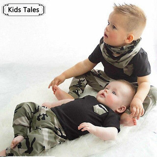 2018 children's fashion summer children's boys girls clothes sets bow 2 pcs. Camouflage suit sports clothes sets boys set SY227