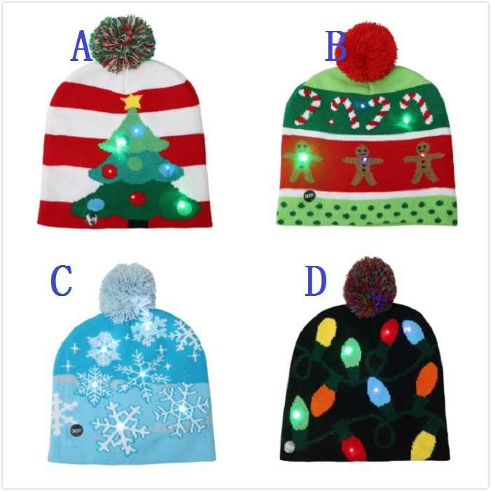 ad7b84f85 Kids XMAS Hat with LED Light Winter Ball Cap Knitted Beanie Caps Adult Baby  Boy Hat Fashion Knitting Snow Christmas Tree Hats