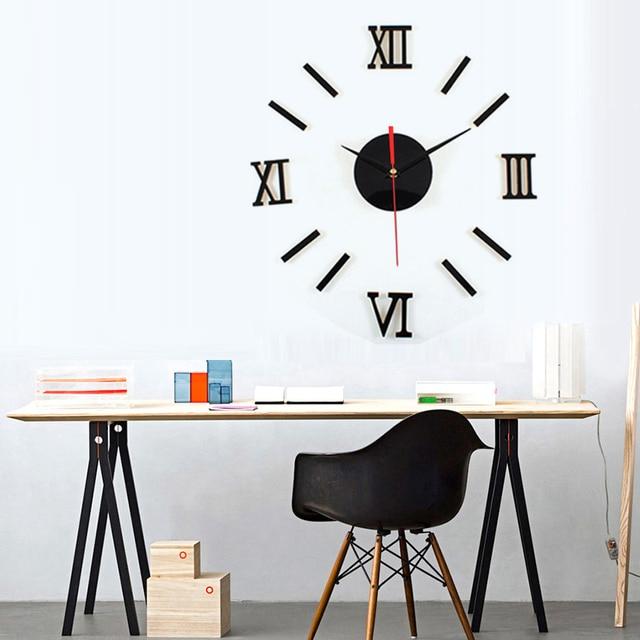 nice design quiet wall clock. Rome Digital Design DIY 3D Clock Quartz Watch Wall Sticker Modern  creative Black White Quiet