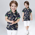 New Style 2017 Kids Sport Tracksuit For Boy Summer Cotton 2 Pieces Sets Fashion Flower Printing Suit Outerwear Set Kids Clothes