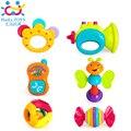 6 Pc/lote Grosso Miúdos Cama Engraçado Novidade Agitação Da Mão de Bell Anel Chocalhos de Bebê Brinquedos de Plástico Crianças Cedo Aprendendo Brinquedos Educativos