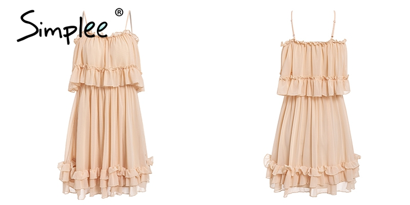 Simplee Elegant ruffle off shoulder women dress Spaghetti strap chiffon summer dresses Casual holiday female pink short sundress 19