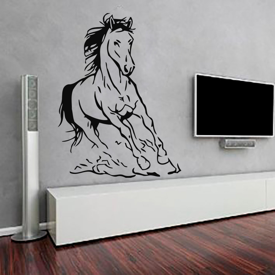Running horse art wall sticker interior vinyl removable home decor running horse art wall sticker interior vinyl removable home decor hollow out wallpaper living room bedroom office decals in wall stickers from home amipublicfo Choice Image
