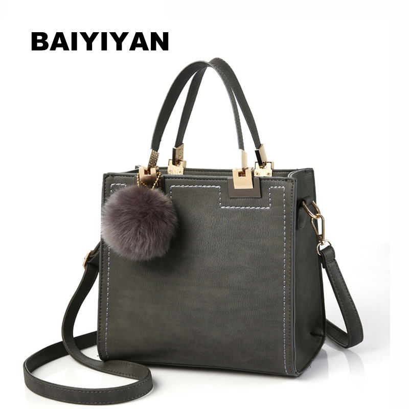 Fashion Handbag Women Casual Tote Bag Female Large Shoulder Messenger Bags High Quality PU Leather Handbag With Fur Ball