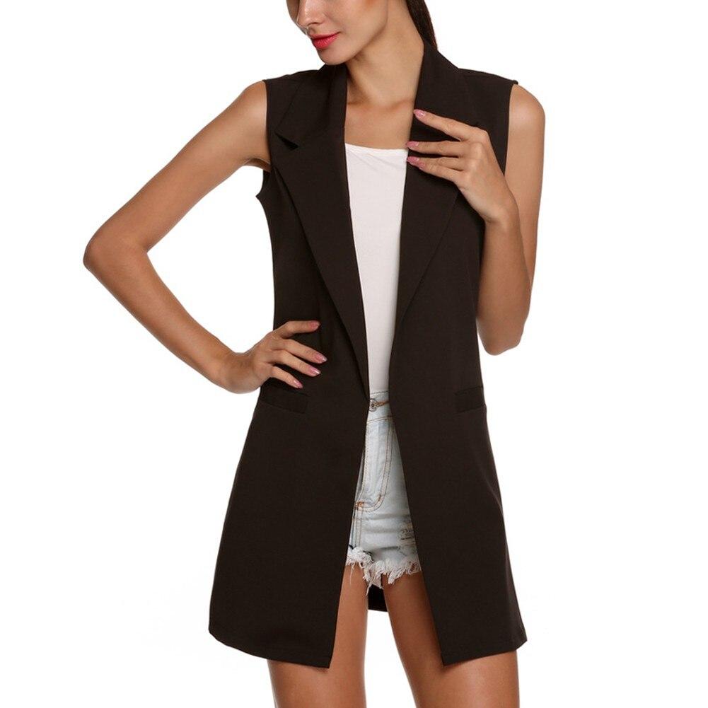Mulheres À Moda elegante senhora do escritório casaco bolso coletes sem mangas casaco Colete marca outwear casuais colete feminino