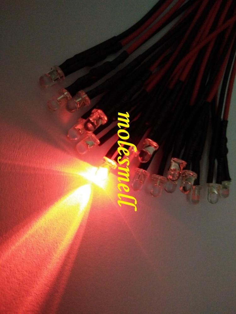 25pcs 3mm 5v Red Water Clear Round Led 5V DC 20cm Pre-Wired LED Red Led Light Lamp